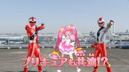 Cure Star con Ryusoul Red y Kiramei Red