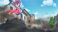 Mirai y Riko observando los destrozos del Yokubaru