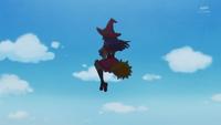 Kana sees Riko on the broom
