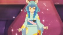 STPC25Yuni shyly stands before the girls in her yukata