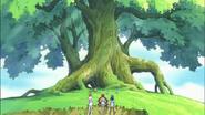 Tsubomi, Erika e Itsuki llegan al Árbol Corazón