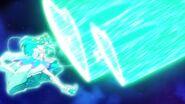 Cure Milky usando el Milky Shock contra Ofiuco