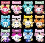 Perfiles de Fuwa con sus diferentes formas (TV Asahi)