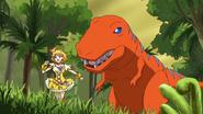 Pine perseguida dinosaurio