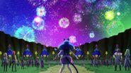 Yuni viendo los fuegos artificiales