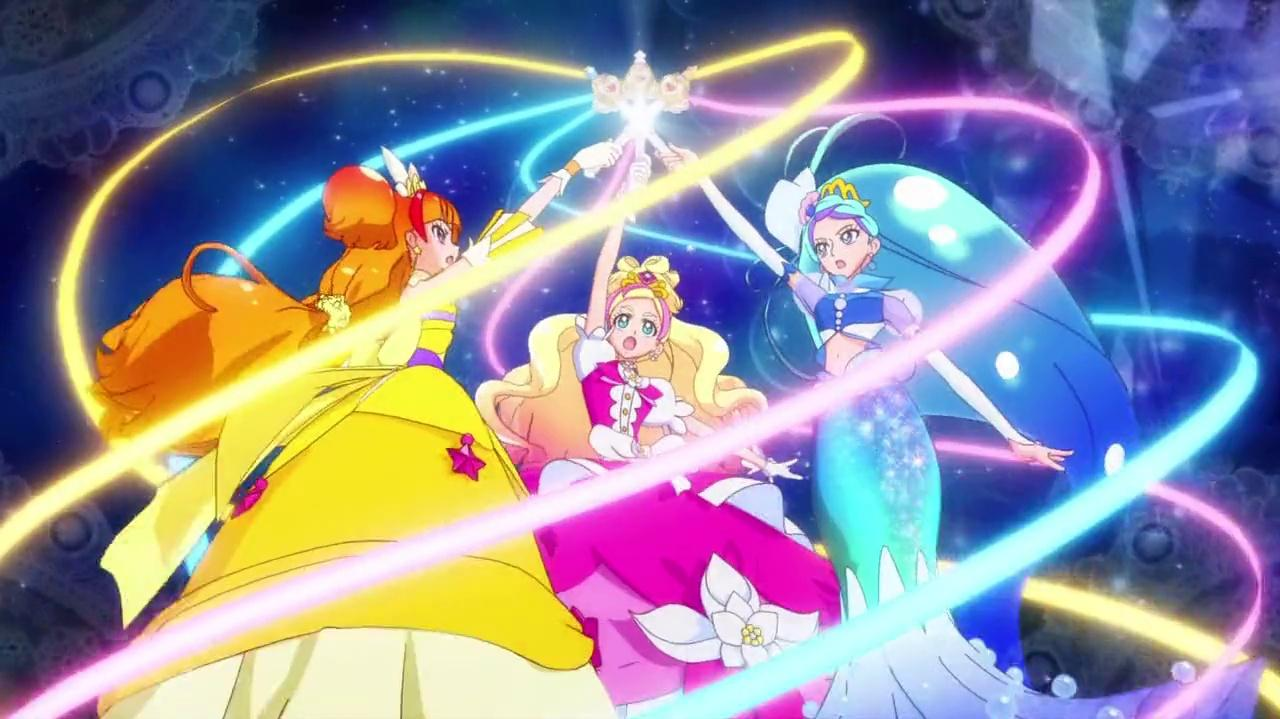Go! Princess Pretty Cure - Miracle Mode Elegant (Lily, Bubble and Shotting Star) and Trinity Explosion