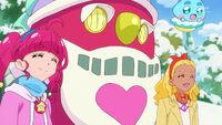 STPC44 Hikaru and Elena smile at Santa Alien