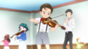 Flashback of a Young Minami and Young Kimimaro playing violin