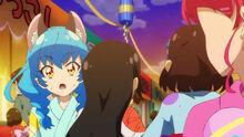 STPC25 Three girls push past Yuni to get to Elena and Madoka