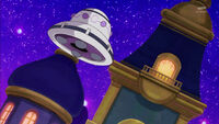 STPC17 Kappard's UFO hovering outside Doramusu's mansion