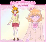 Perfil de Mirai Asahina con su atuendo escolar (Toei Animation)