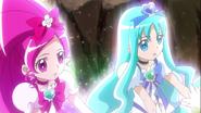 Blossom y Marine dando su poder a las Princess
