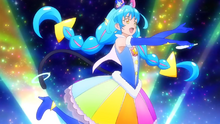 Color Charge Cure Cosmo singing as she spins around