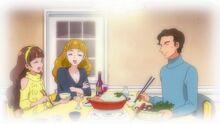 Kirara eating with Stella and Ken