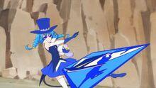 STPC20 Blue Cat throws a card at Soleil