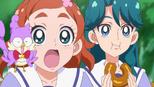 Haruka and Aroma whilt Minami eats her donut
