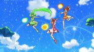 Equipo de Pretty Cure con ataques deportivos