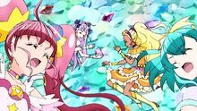 STPC10 Star and Milky getting flown back to the defeated Selene and Soleil