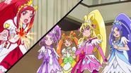 Las cures atacan al Jikochuu por ambos lados