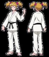 Perfiles de Love Momozomo con atuendo de karate