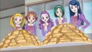 Girls are excited over pancakes