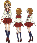 Perfiles de Yuko con su uniforme escolar