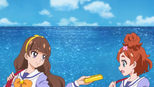 Kirara passing Haruka her schedule book