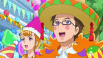 Kyoko and Daikichi looking at the cake