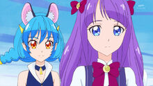 STPC24 Madoka ponders over why Irma doesn't smile as Yuni looks at her