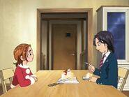 Kazuya comiendo el pastel de Saki