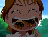 Nagisa comiendo takoyaki