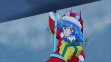 STPC44 Yuni lowers herself onto the balcony