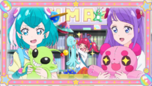 STPC09 Lala, Hikaru and Madoka admiring stuffed toys
