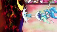 Cure Fontaine ataca al Megabyougen con patadas