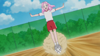 Kotoha stands on the moving ball