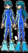 Minami con traje de buseador
