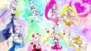 Fresh Pretty Cure y HeartCatch Pretty Cire recordando a las Hugtto la importancia de un corazón amable