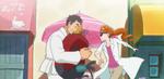 KKPCALM31-Satomi throws Genichirou her backpack