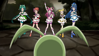 Precure 5 pose in front of Girinma