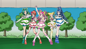 Precure 5 pose on stage