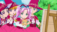 Mirai, Kotoha, Mofurun and Riko look at Jun's paiting