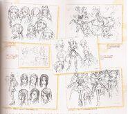 Bocetos de Usara, Cure Dream, Coco, Cure Rouge, Karen y Cure Limonade