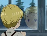 Niño mansion mirando fuera