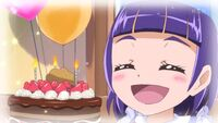Young Riko with her birthday cake