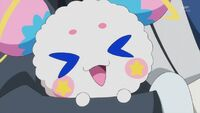STPC19 Fuwa squeals happily as Bakenyan has Blue Cat's scent