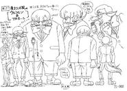 Bocetos de Wolfrun y Akaoni disfrazados de animadores