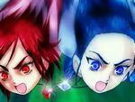 Michiru and Kaoru attacking the Pretty Cures