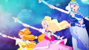 Princess Precure girando sus princess rod