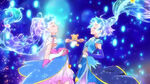 Cure Miracle and Magical's hair begins to change