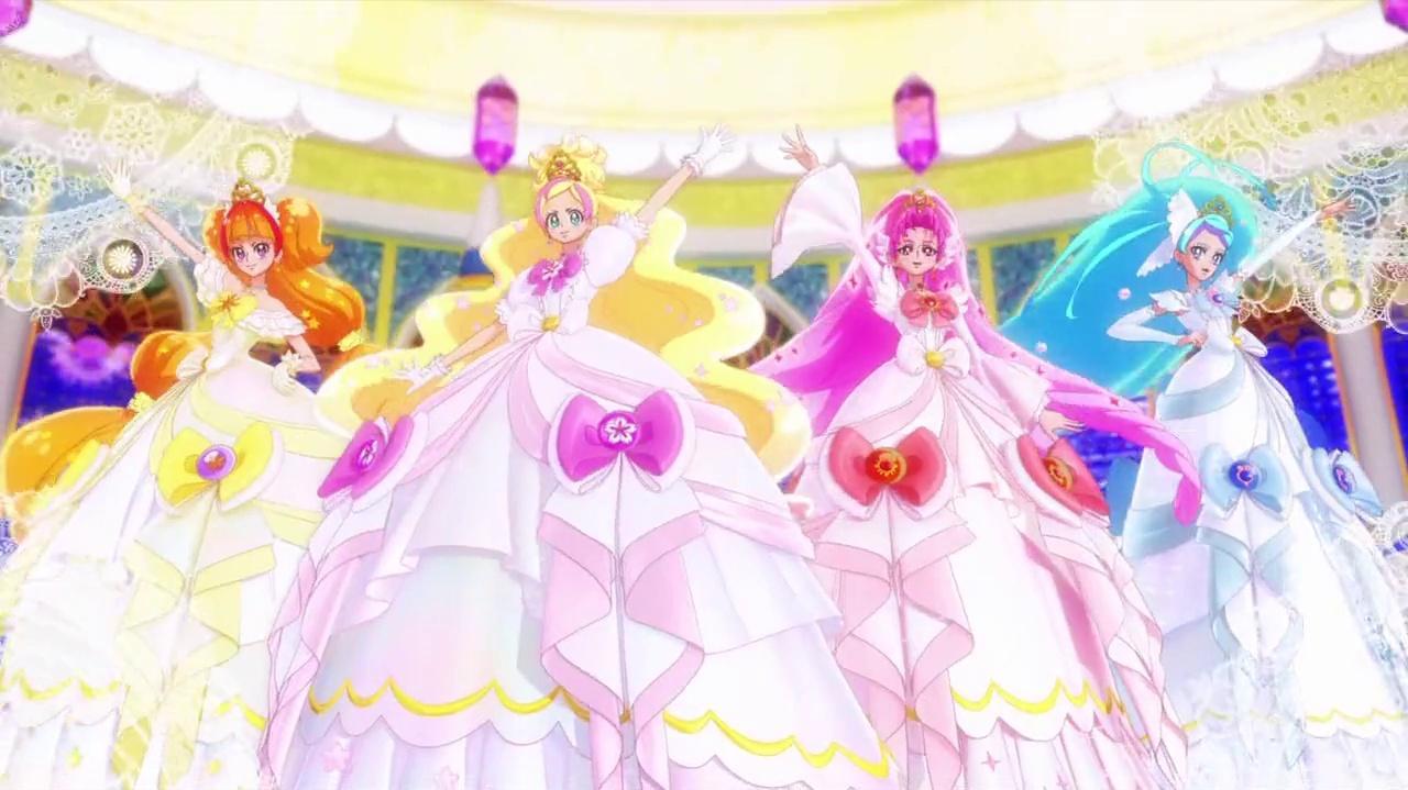 Go! Princess Pretty Cure - Mode Elegant Premium (Cherry, Coral, Galaxy and Sun) and Eclat Espoir